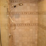 Custom tile shower with glass door